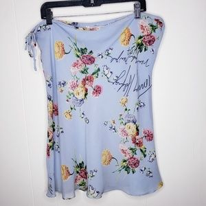 Tommy Hilfiger Skirt Blue Floral Spell Out Size 10